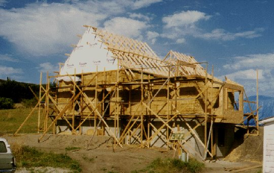 House picture showing roof trusses on
